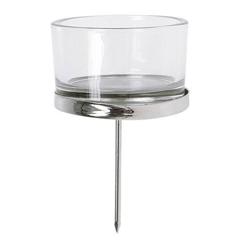 Lysestage med glas sølv 4stk