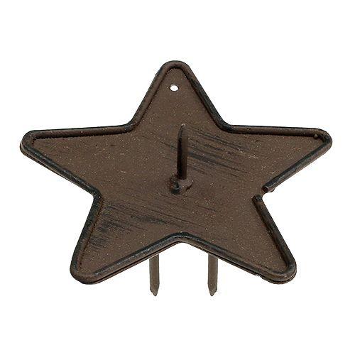 Stearinlysholder stjerne, der holder 9 cm brun