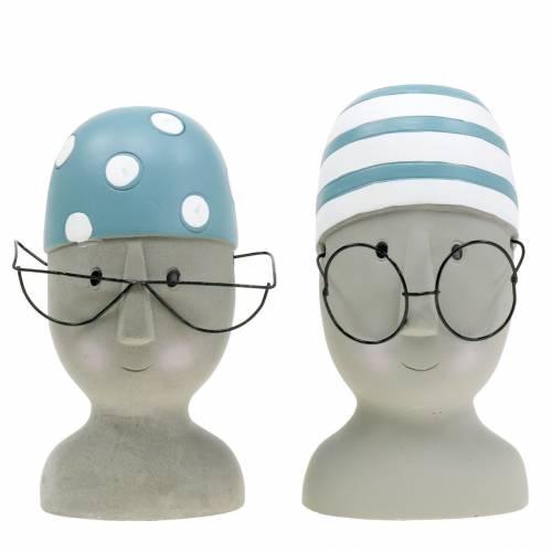 Dekorativt hovedflåd med briller og badehætte blå hvid H15cm / 16cm 2stk