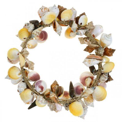 Dekorative kransskaller og snegle natur Maritim dekoration Ø30cm
