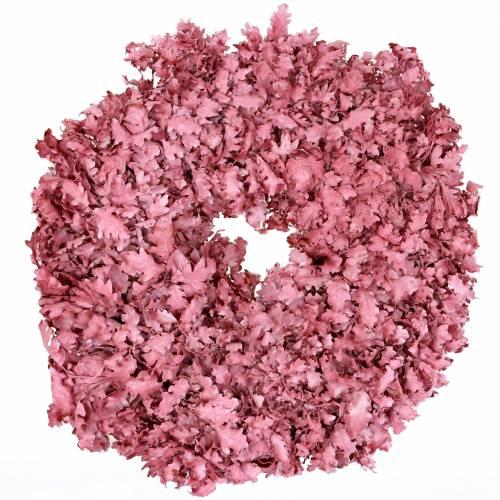 Krans af egetræsblade lyserød voks Ø38cm
