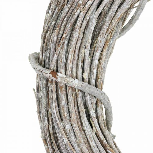 Deco krans hvidkalket naturlig krans dørkrans Shabby Chic Ø42cm