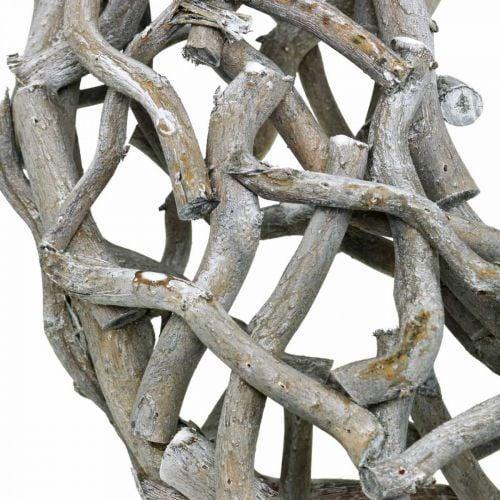 Dekorativt kransetræ, kalket grå, naturlig kransborddekoration Ø50cm
