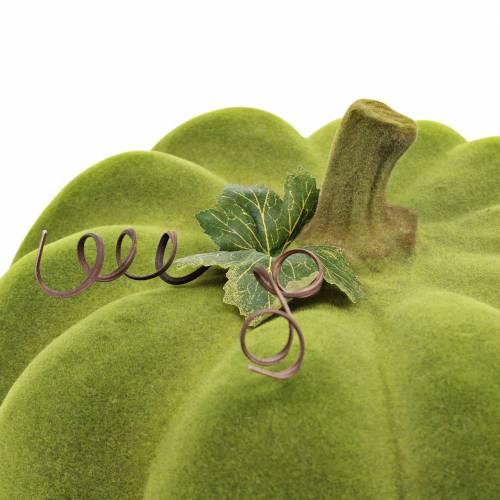 Dekorativ græskar flokket mosgrøn 32cm