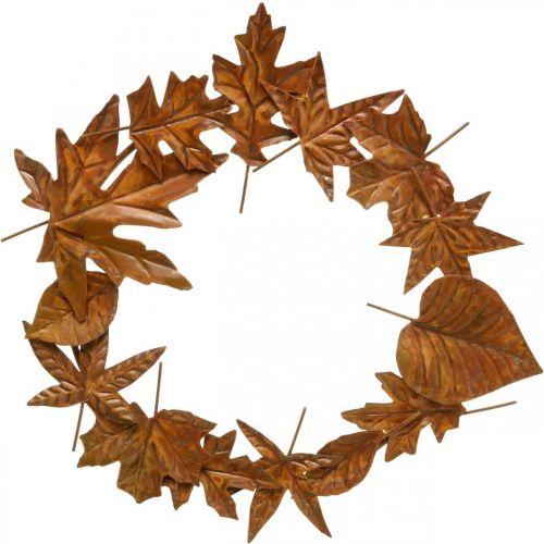Bladkrans, ædel rust, metaldekoration, krans, efterårsdekoration, mindeblomsterhandel Ø29cm