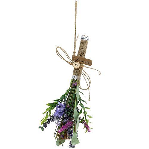 Kunstig lavendelbund med urter 23 cm