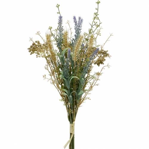 Kunstig lavendelbunke, silkeblomster, feltbuket lavendel med hvedeører og engfrugt
