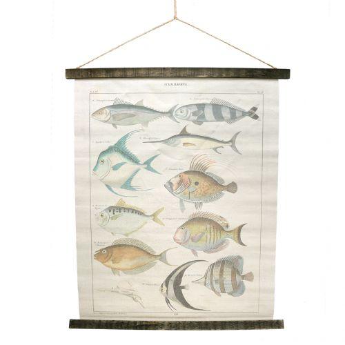 Dekorativ rullemalning lavet af linned med fisk 60 cm x 72 cm