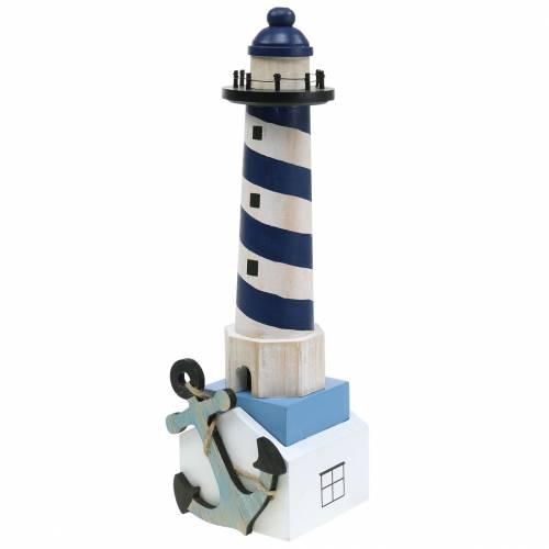 Maritim dekoration fyrtårn mørkeblå 34cm