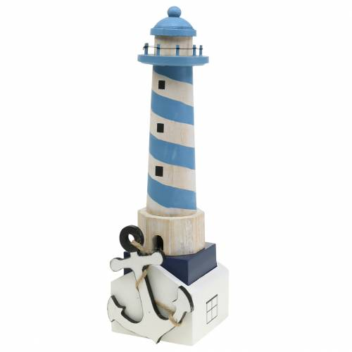 Maritim dekoration fyrtårn lyseblå 34cm