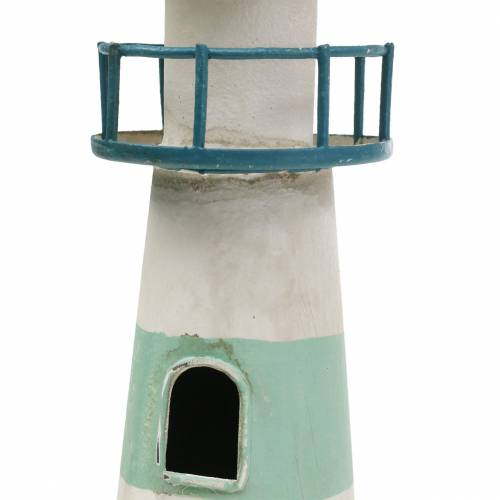 Fyrtårn turkis, hvid Ø10,5 cm H35cm