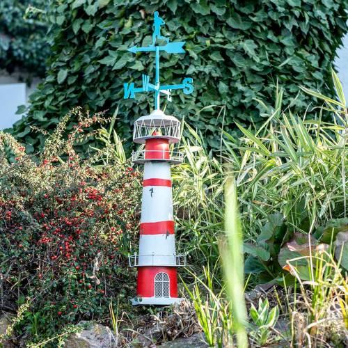 Fyrtårn rød hvid med vejrvinge 90 cm