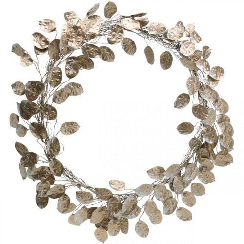 Dekorativ krans sølvblade kunstig krans af blade champagne Ø59cm