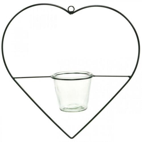 Lanterne hjertemetal 38 cm fyrfadslysholder til hængning med glas