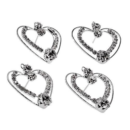 Metal hjerter sølv 3cm 6stk