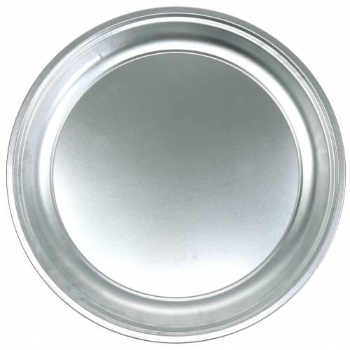 Metalplade grundlæggende sølvblankt Ø45,5cm H4cm