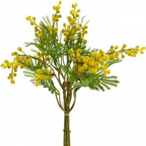 Mimosa gul kunstig kunstig plantebundt 39cm