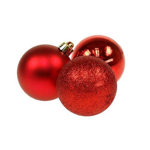 Minijule bauble rød Ø3cm 14stk