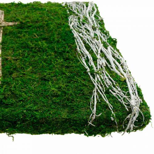 Mosebillede vinstokke og kors til gravopstilling grøn, hvid 40 × 30cm