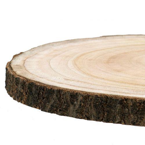 Træskive blå klokke træ natur Ø30-35cm 1p