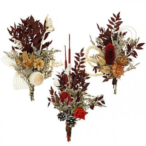 Naturlig udgave gravhynder begravelses blomster 3-fold assorteret 24stk