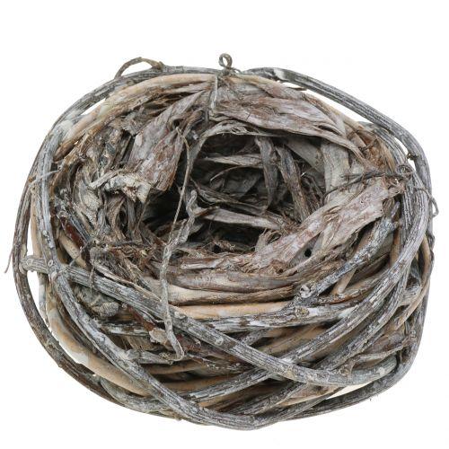 Påskekurv lavet af naturlige grene, hvidvasket Ø13cm 3stk