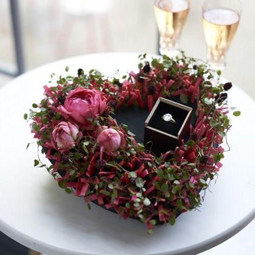 Blomsterskum hjerte sort 33cm 2stk bryllupsdekoration