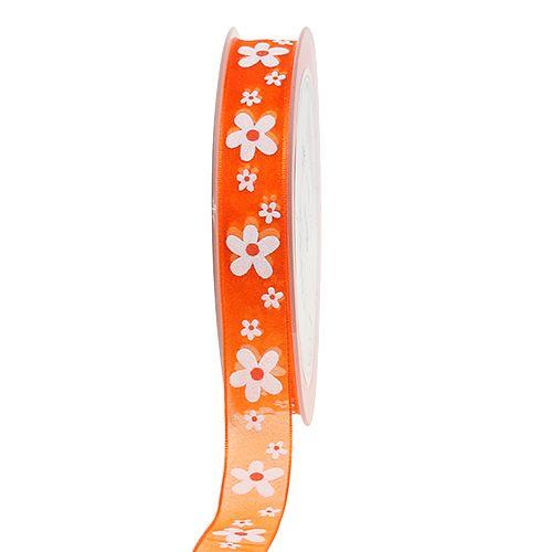 Organza bånd orange med blomstermotiv 15mm 20m