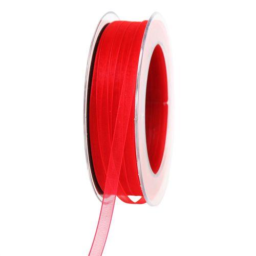 Organza bånd med selvedge rød 7mm 50m