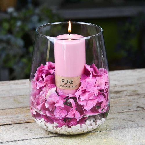 PURE søjlelys 130/70 Lyserødt dekorativt lys bæredygtig naturlig voks