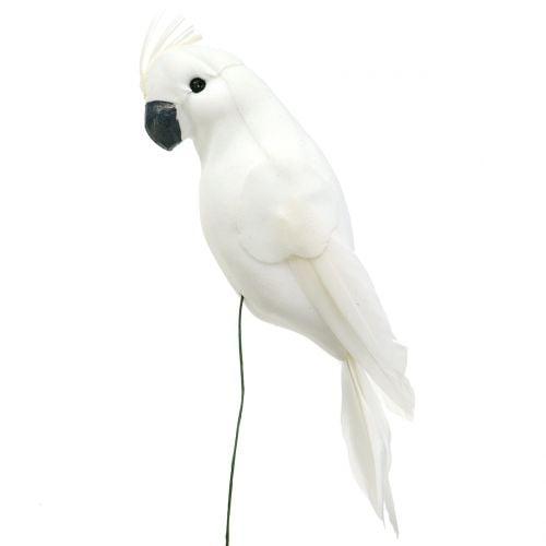 Papegøjer med fjer hvid Kunstig kakaduedekoration fugl 4stk