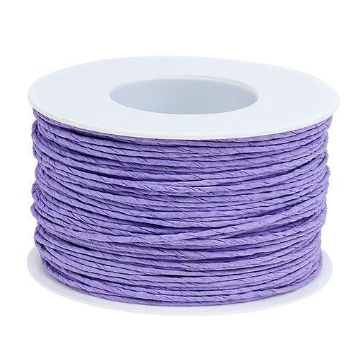 Papirkabeltråd pakket ind i Ø2mm 100m lavendel