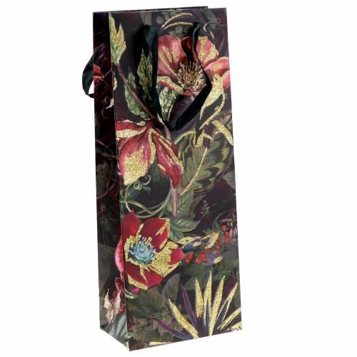 Gavepose til flasker med blomster 8,5 cm x 14 cm H36cm