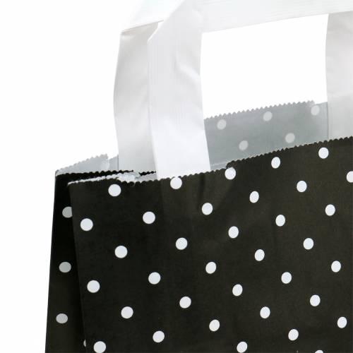 Papirpose sort med prikker 22 cm x 10 cm x 31 cm 25 stk