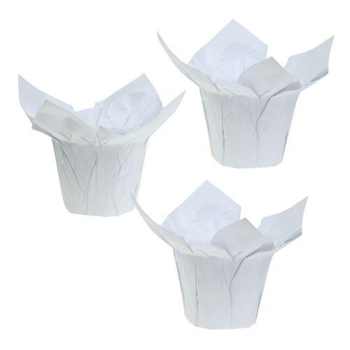 Papirpotter hvide Ø10cm 12stk