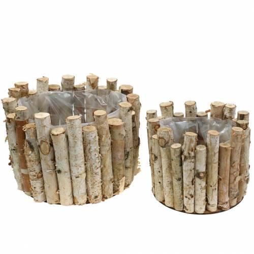 Plante potten rund bjørk Ø22 / 30cm, sæt med 2