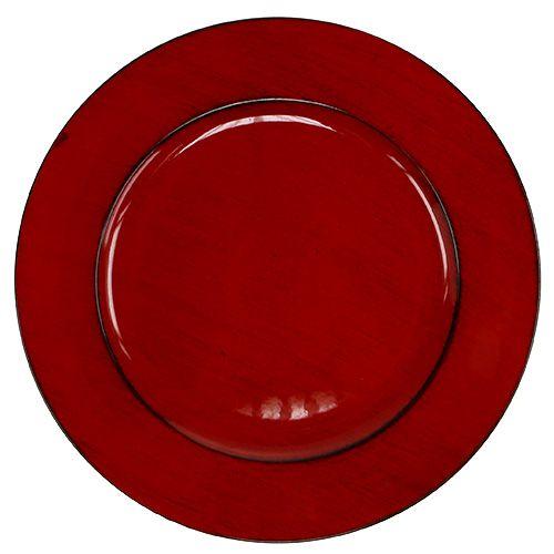 Plastplade Ø33cm rød-sort