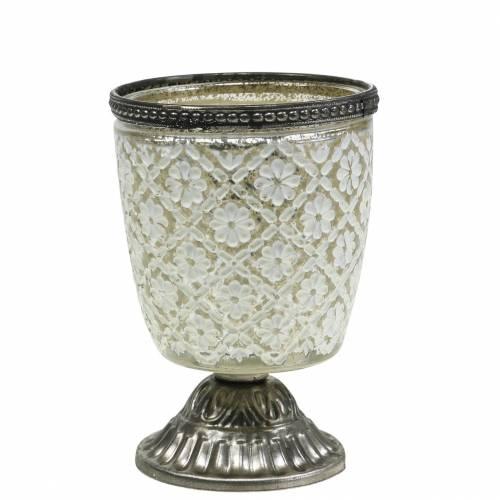 Tealight glas kop landmænd sølv blomster Ø9cm H13.5cm