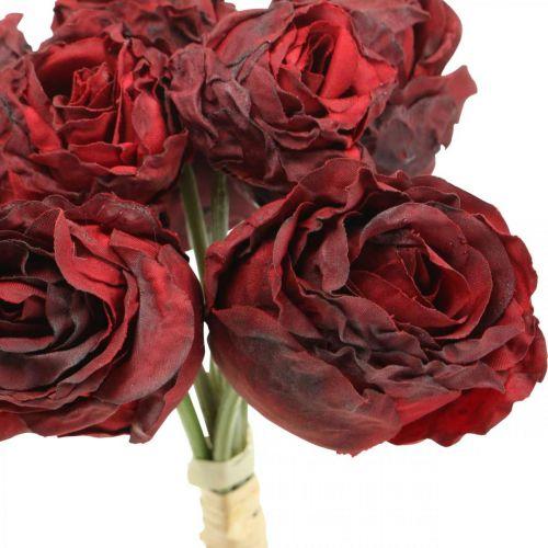 Kunstige roserøde, silkeblomster, rosebund L23cm 8stk