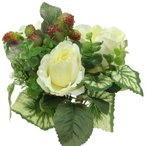 Roser / hortensia buket hvid med bær 31cm