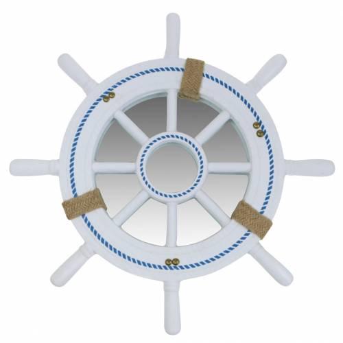 Dekorativt rattespejl hvid Ø40cm