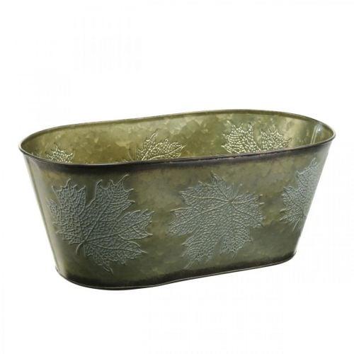 Planteskål til efterår, metalpynt med bladdekoration grøn L38cm H15cm