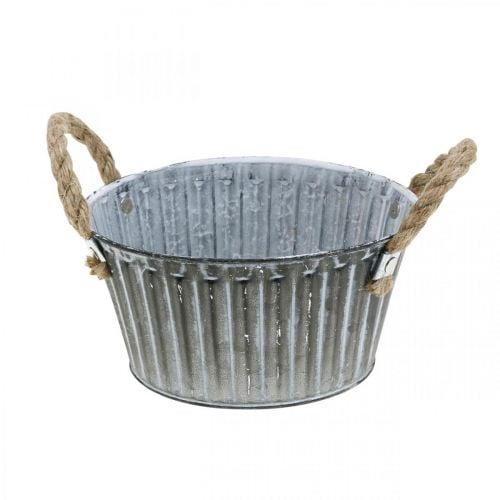 Planteskål, metalskål med håndtag, dekorativ skål til plantning af Ø18cm