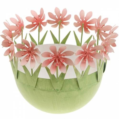 Planteskål, forårsdekoration, metalskål med blomsterdekoration, påskekurv