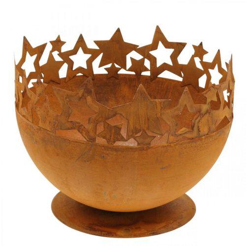Metalskål med stjerner, julepynt, dekorativ beholder rustfrit stål Ø25cm H20,5cm
