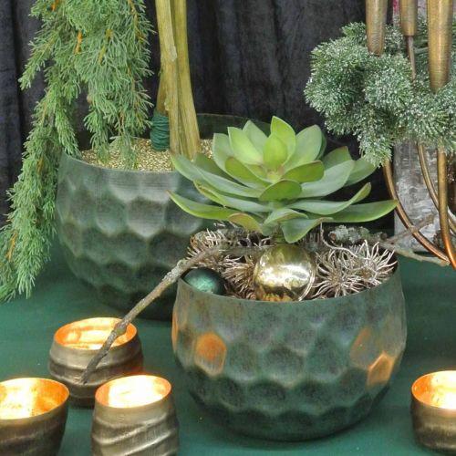 Dekorativ skål metalgrøn vintage planter Ø25 / 20,5 / 16,5 cm sæt med 3