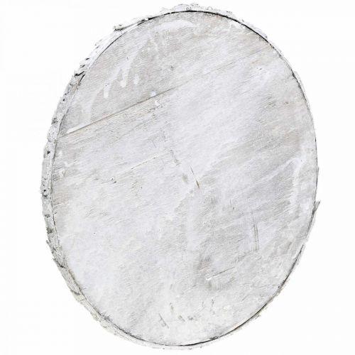 Deco træskive vintage borddekoration hvid krydsfiner Ø25cm