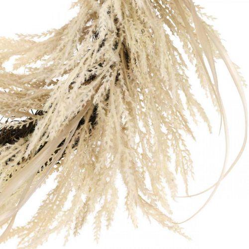 Dekorativ krans pampas græs og siv kunstig creme 70cm