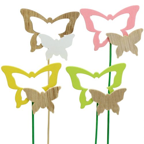 Dekorative stik sommerfugl forskellige farver H24cm 24stk