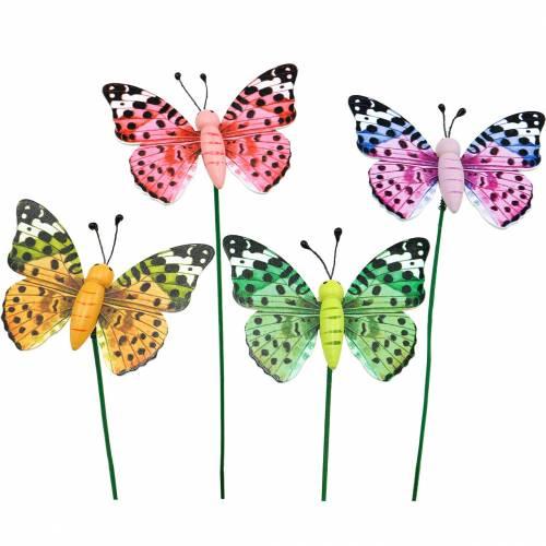 Dekorativ sommerfugl på en pind, blomsterknap, forårsdekoration, 16stk